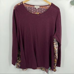 Chenault | Long Sleeve Floral Chiffon Top, 22/24